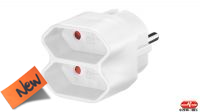 Adaptador divisor schuko 1 x M - 2 x F euro branco