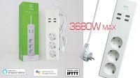Régua inteligente 3x Schuko 4x USB controlo vocal Alexa