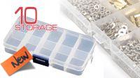 Caixa transparente com 10 compartimentos para parafusos